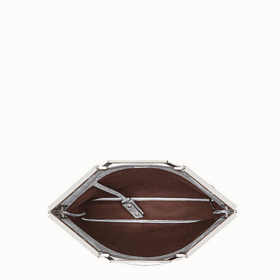 FENDI FLAT SHOPPING BAG MEDIUM - Silver leather shopper - view 5 detail