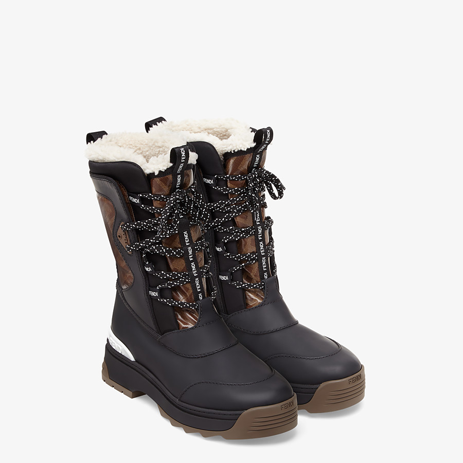 FENDI SKI BOOT - Rubberised black leather boots - view 4 detail