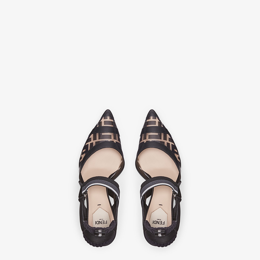FENDI SLINGBACKS - Colibrì in PU and black leather - view 4 detail