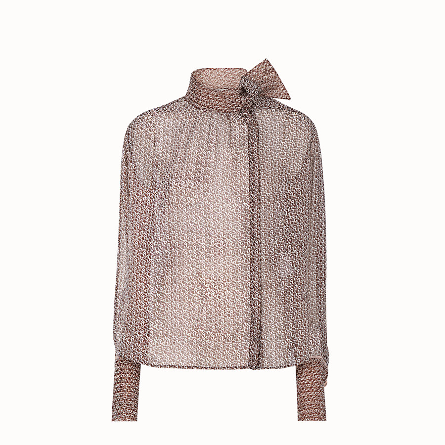 FENDI SHIRT - Brown and pink silk blouse - view 1 detail