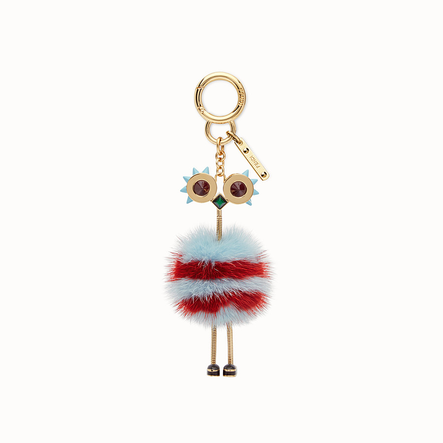 FENDI CHICK BAG CHARM - Charm in light blue and red fur - view 2 detail
