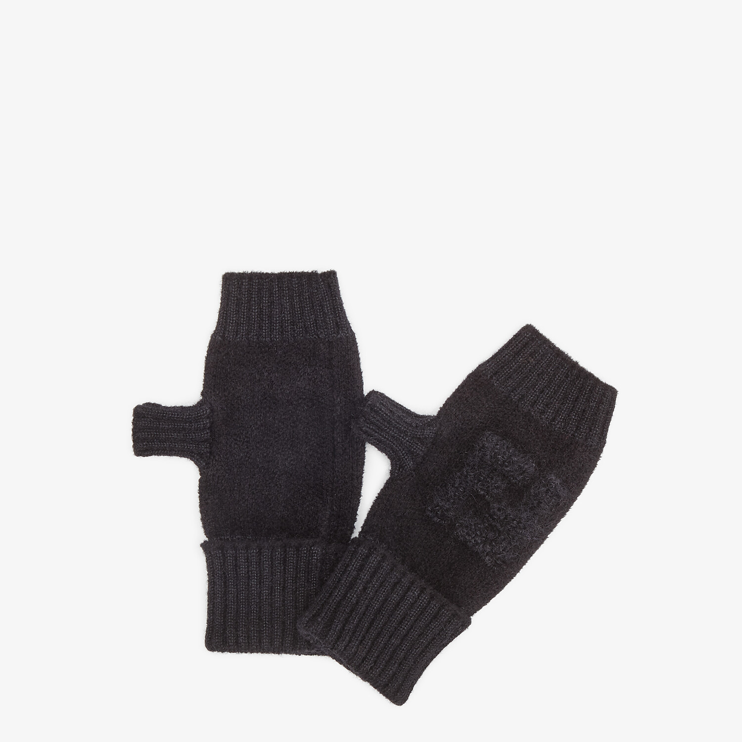 FENDI GLOVES - Black knit cuff - view 1 detail