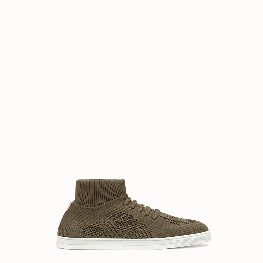 FENDI SNEAKER - Knitted mud-brown slip-ons - view 1 detail