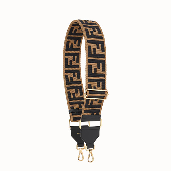 FENDI STRAP YOU - Brown canvas shoulder strap - view 1 small thumbnail