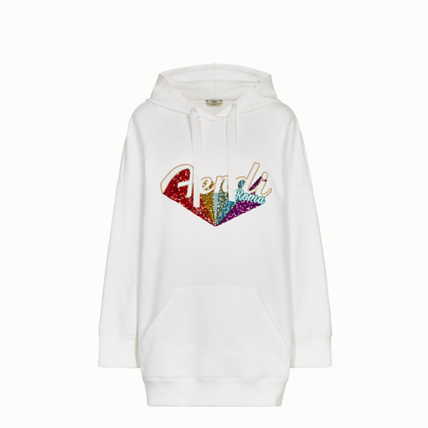 FENDI SWEATSHIRT - White cotton hoodie - view 1 small thumbnail