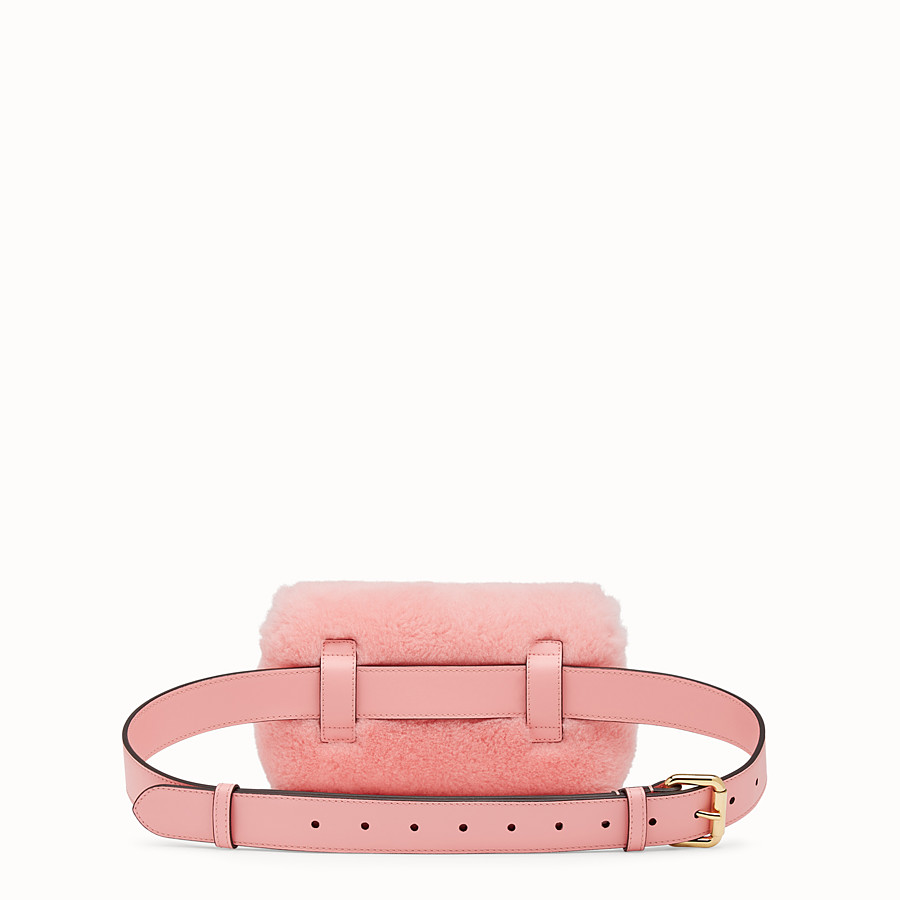 FENDI BELT BAG - Pink sheepskin belt bag - view 3 detail