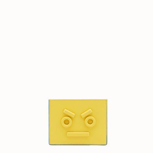 FENDI CARD HOLDER - Three-slot card holder in yellow leather - view 1 small thumbnail