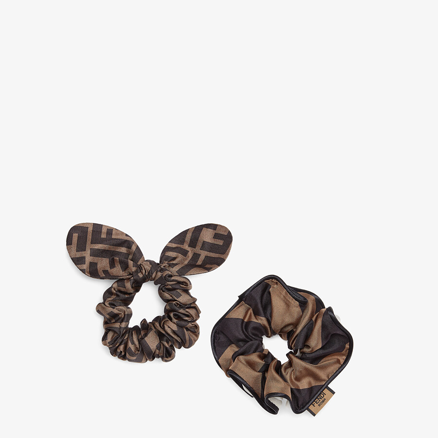 FENDI HAIR TIES - Set of two elastic brown silk hairbands - view 1 detail