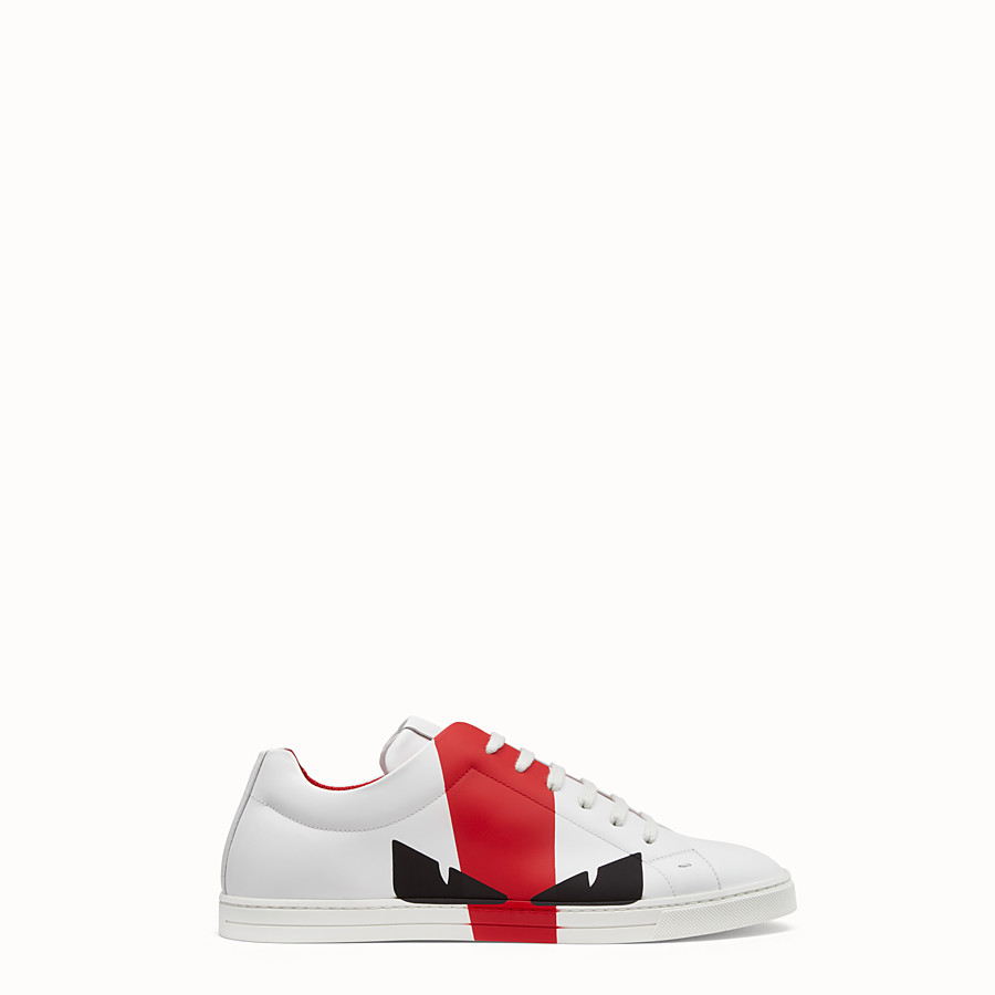 FENDI SNEAKERS - Chaussures basses en cuir blanc - view 1 detail