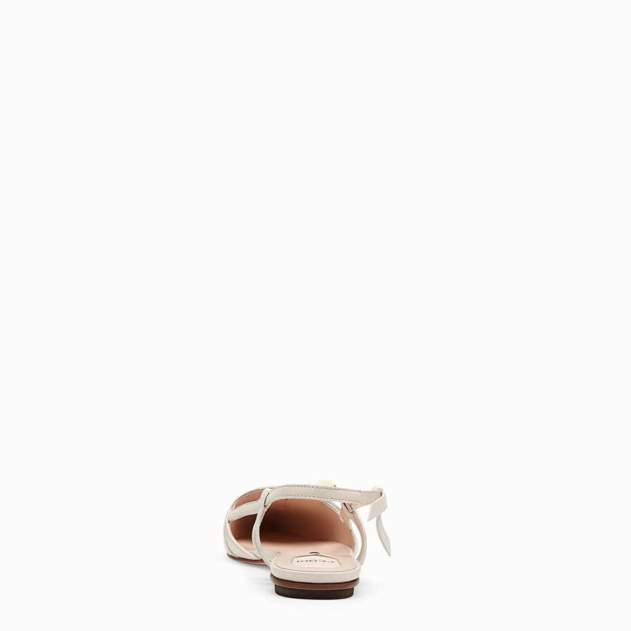 FENDI SLINGBACKS - White leather slingbacks - view 3 detail
