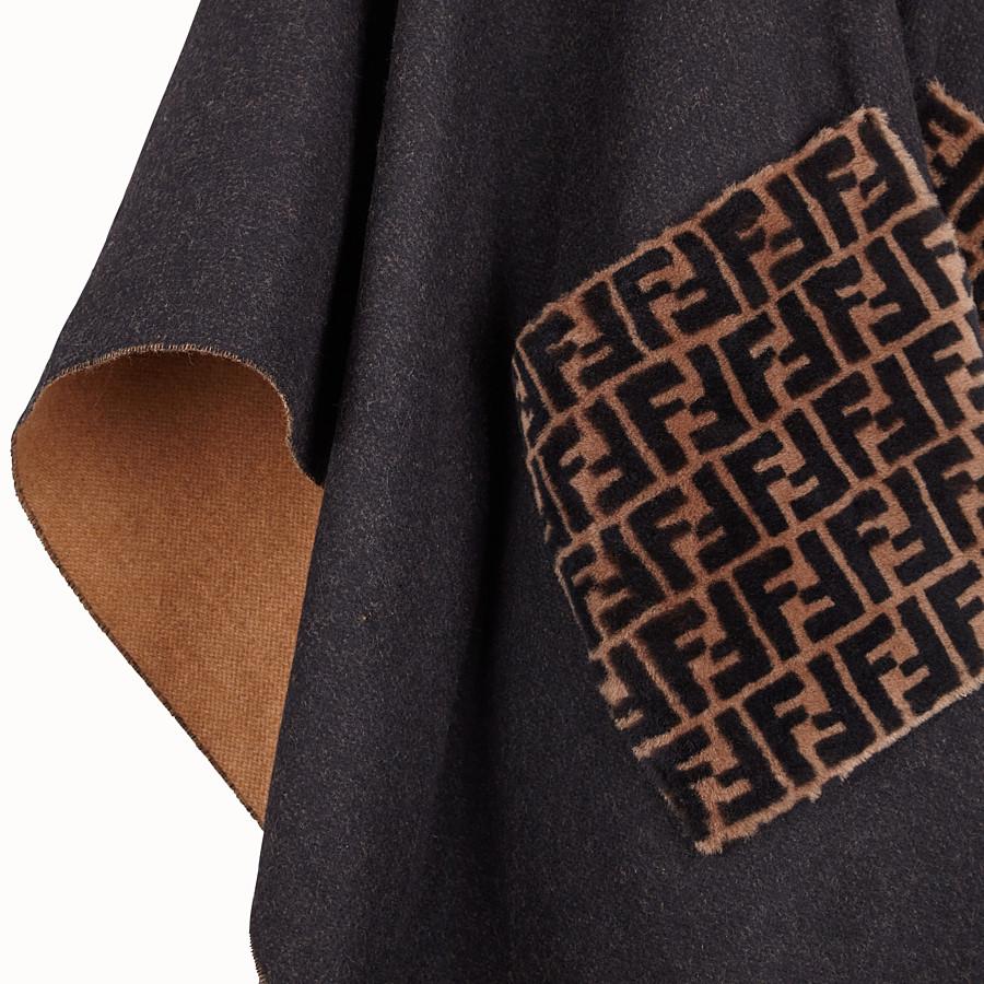 FENDI PONCHO - Poncho in lana e cachemire nero - vista 3 dettaglio