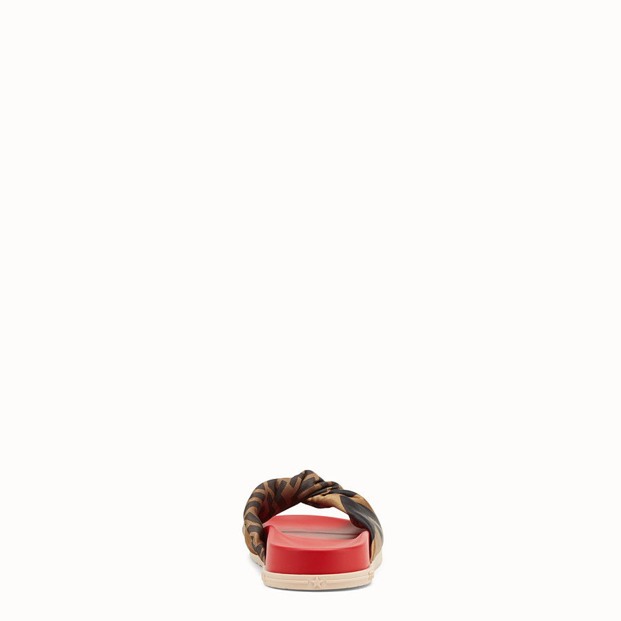 FENDI SANDALS - Multicolour satin and leather slides - view 3 detail