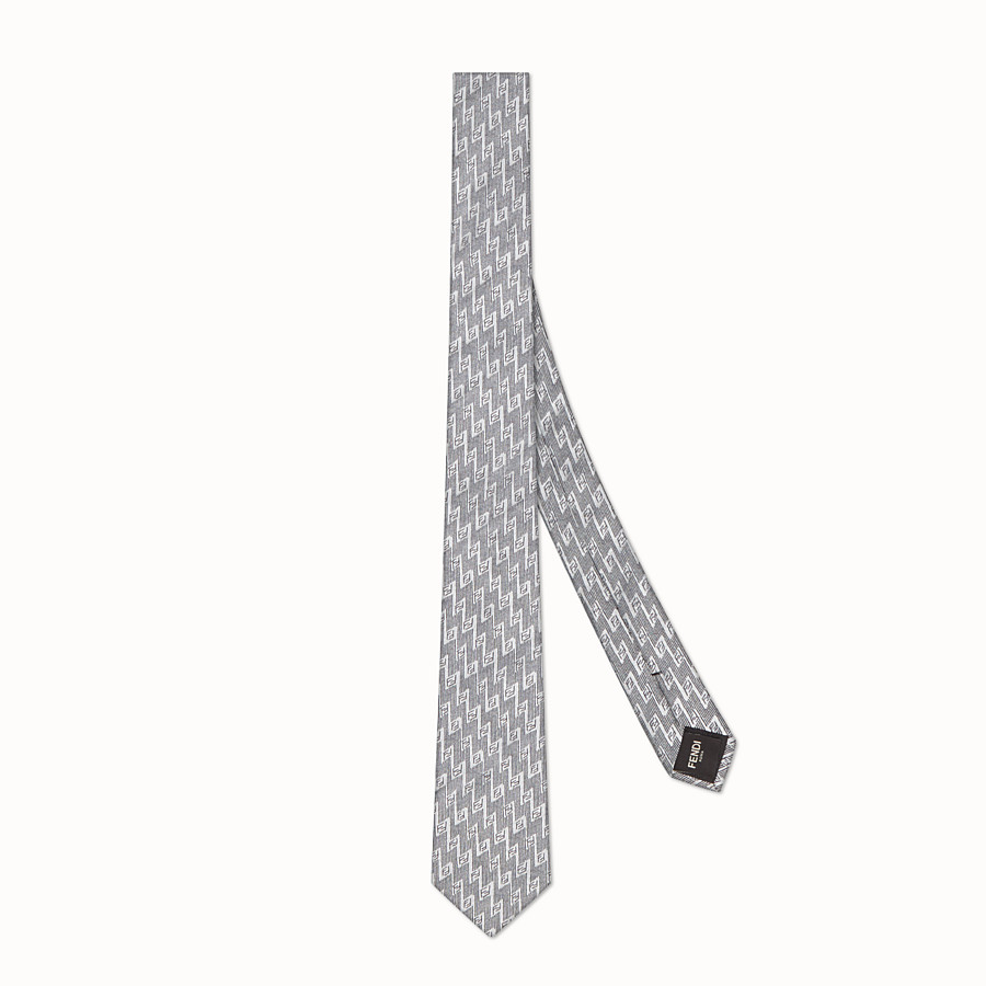 FENDI TIE - White silk necktie - view 1 detail