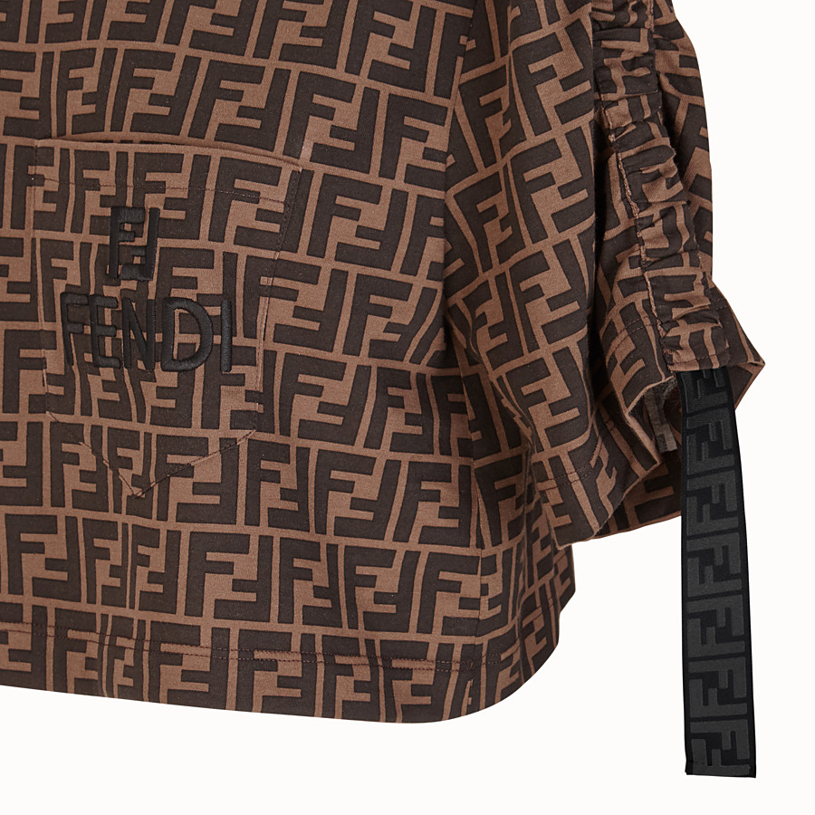 FENDI T-SHIRT - Brown cotton jersey T-shirt - view 3 detail
