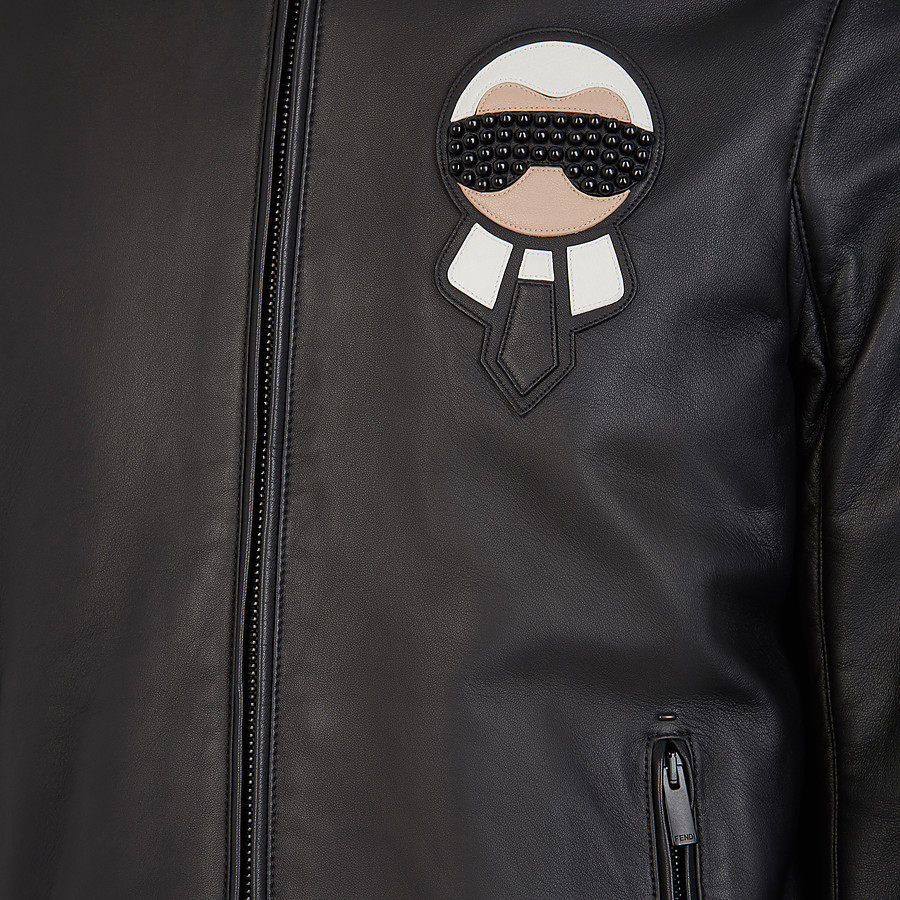 FENDI BIKER JACKET - Black leather jacket - view 3 detail