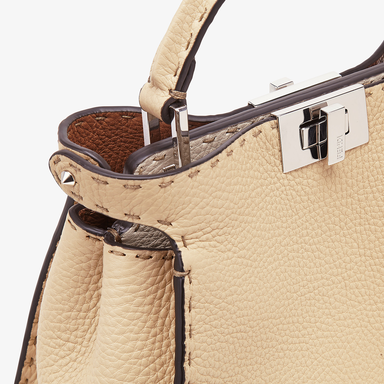 FENDI PEEKABOO ICONIC ESSENTIALLY - Beige Cuoio Romano leather bag - view 6 detail