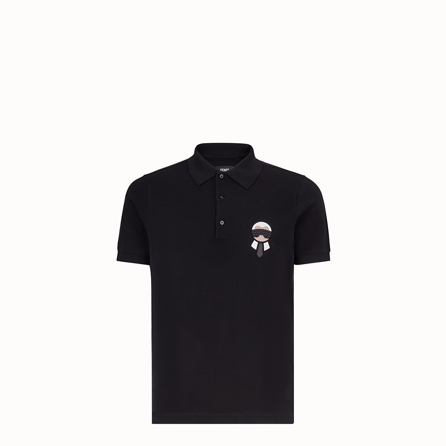 FENDI POLO SHIRT - Black cotton jumper - view 1 detail