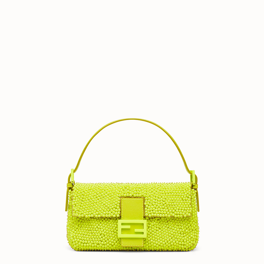 FENDI BAGUETTE - citron yellow shoulder bag decorated all over - view 1 detail