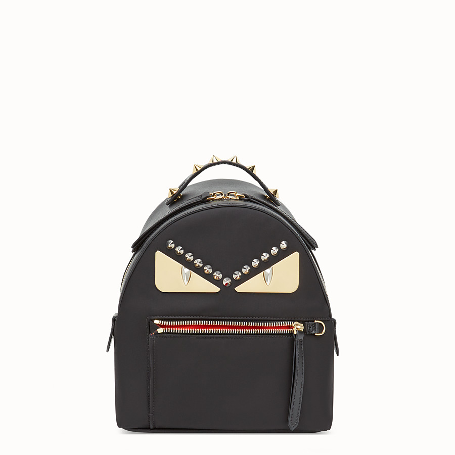 FENDI MINI BACKPACK - Petit sac à dos en nylon et cuir noir - view 1 detail