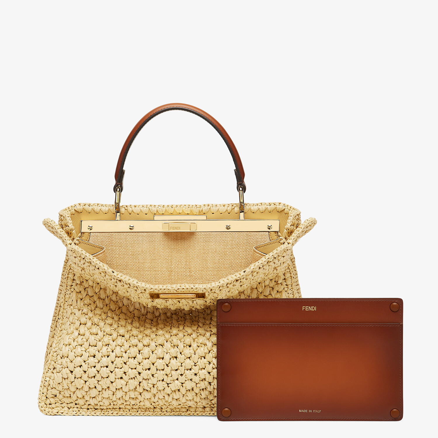 FENDI PEEKABOO ISEEU MEDIUM - Woven straw bag - view 4 detail