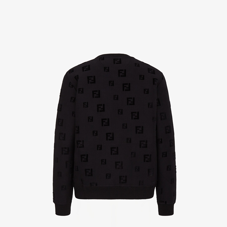 FENDI SWEATSHIRT - Black chenille sweatshirt - view 2 detail