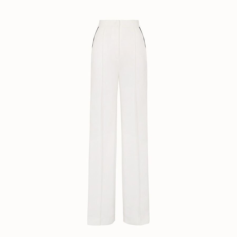 FENDI TROUSERS - White jersey trousers - view 1 detail