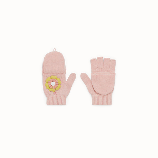 FENDI GLOVES - Junior girl's pink wool blend gloves - view 1 small thumbnail