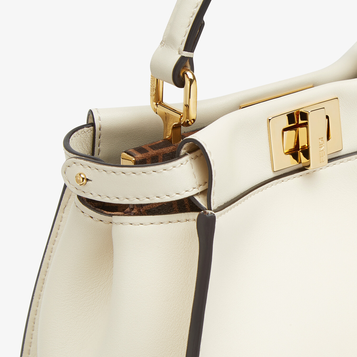 FENDI PEEKABOO ICONIC MINI - White leather bag - view 6 detail