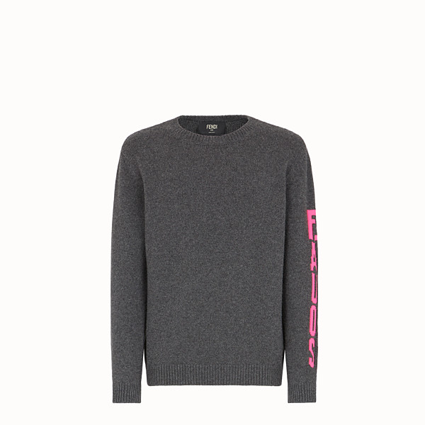 FENDI PULLOVER - Grey cashmere jumper - view 1 small thumbnail