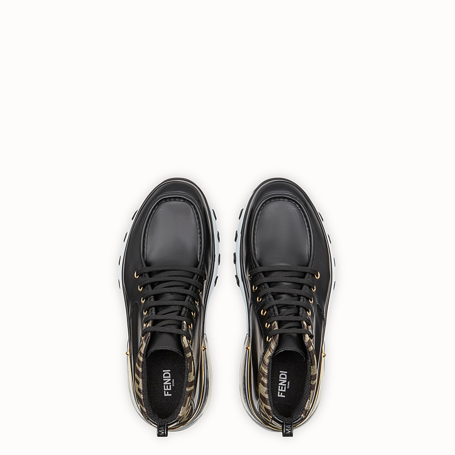 FENDI SNEAKERS - Black leather lace-up - view 4 detail