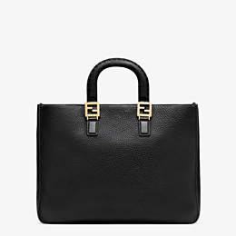 FENDI FF TOTE MEDIUM - Black leather bag - view 3 thumbnail