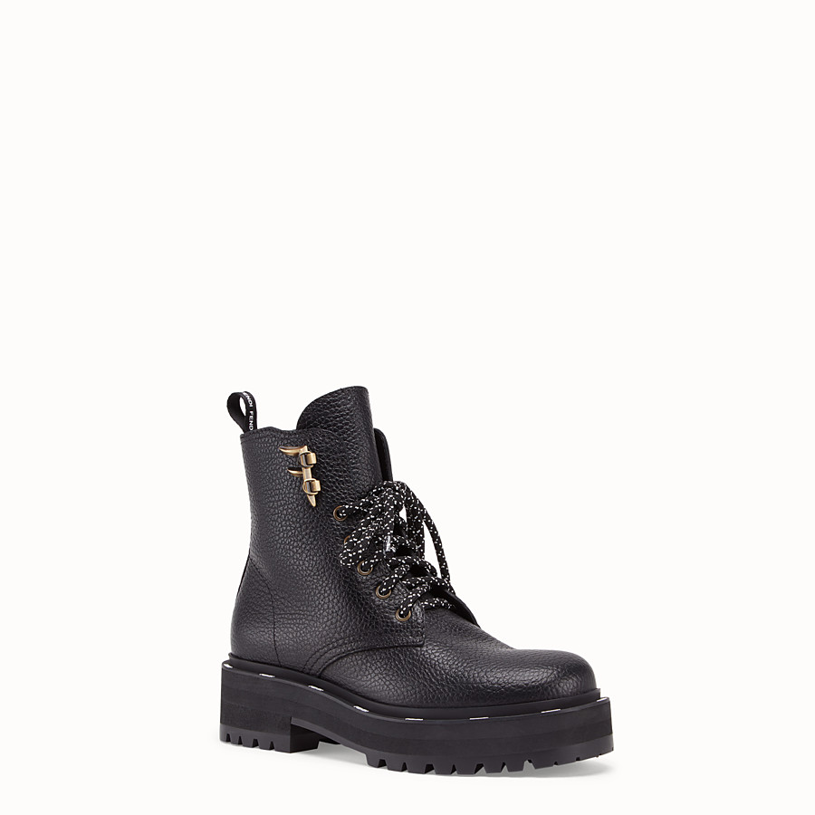 FENDI ANKLE BOOTS - Black leather biker boots - view 2 detail