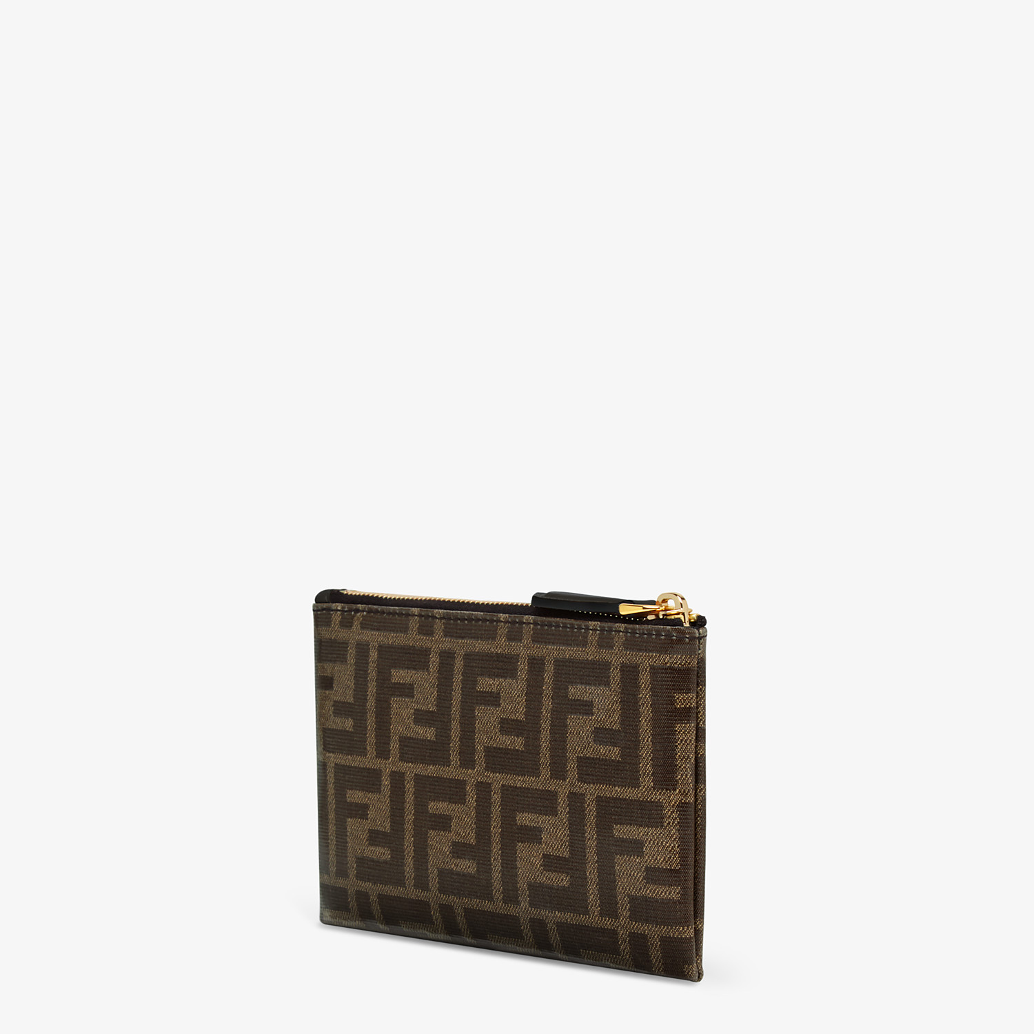 FENDI SMALL FLAT POUCH - Brown fabric pouch - view 2 detail