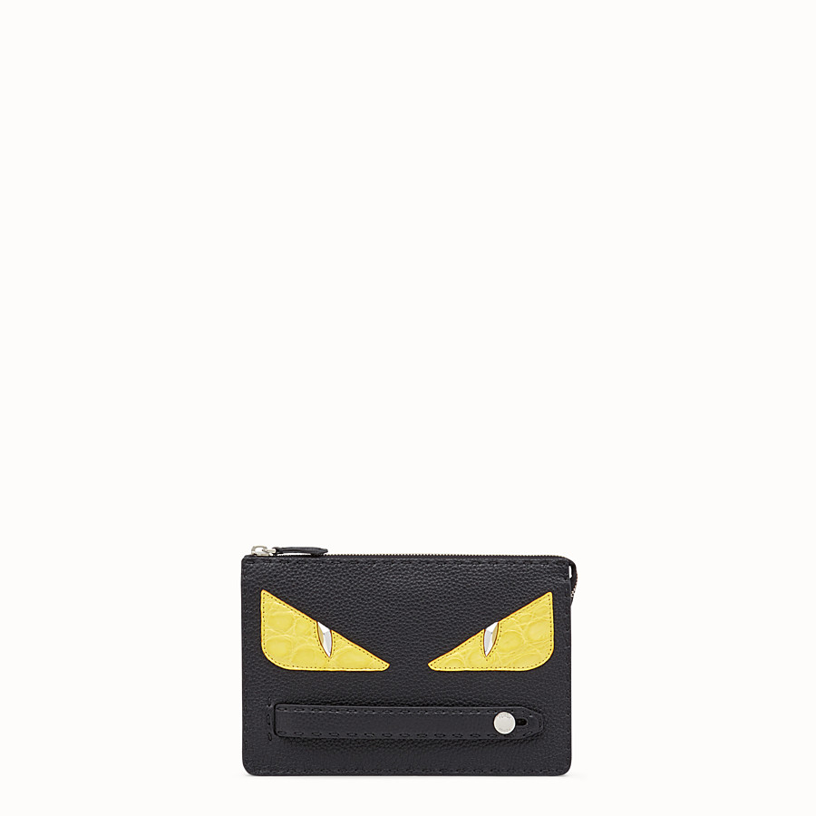 FENDI CLUTCH - Black Roman leather pochette with exotic leather details - view 1 detail