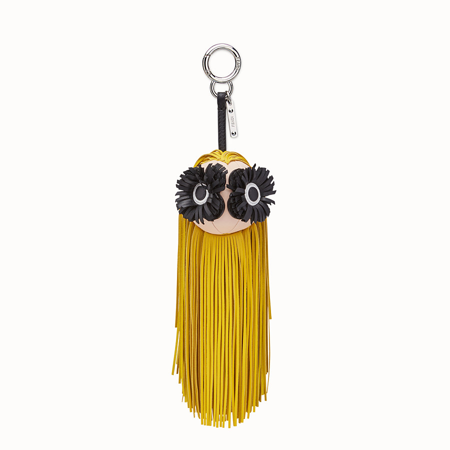FENDI FRINGE-EYES CHARM - Charm with fringe in yellow leather - view 2 detail