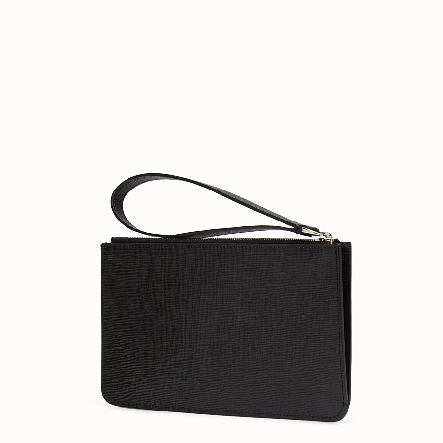 FENDI KARLITO FLAT POUCH - in black leather with inlay - view 2 detail