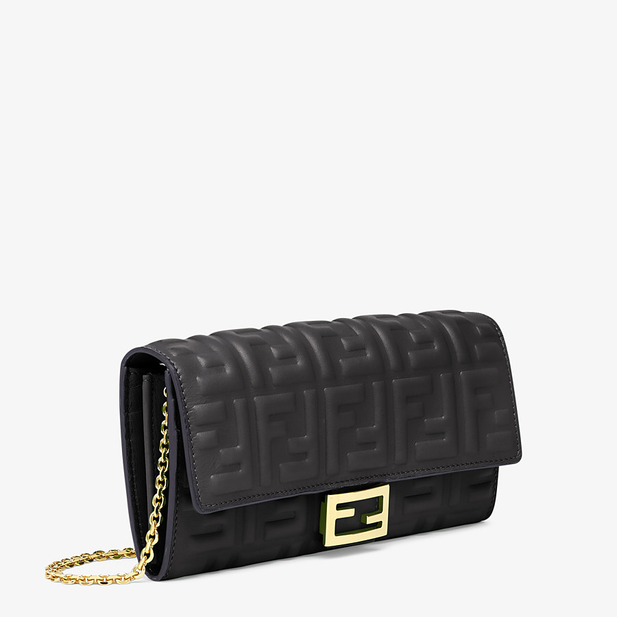 FENDI CONTINENTAL WITH CHAIN - Black nappa leather wallet - view 2 detail