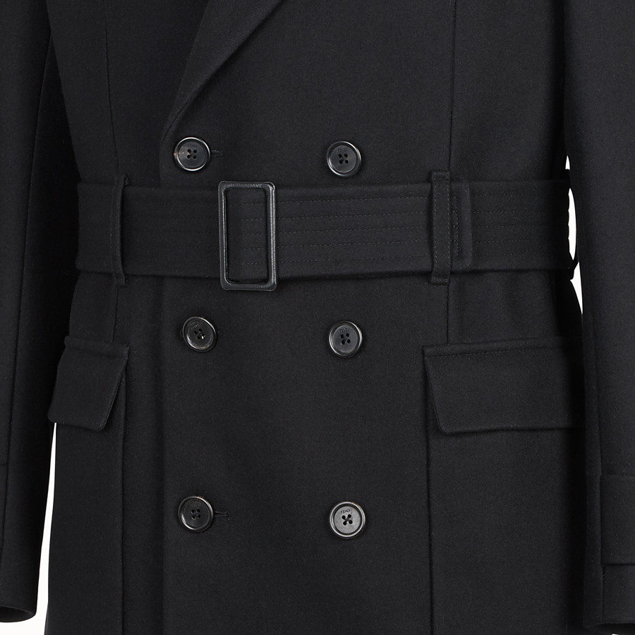 FENDI PEA COAT - Mantel aus Tuch Schwarz - view 3 detail