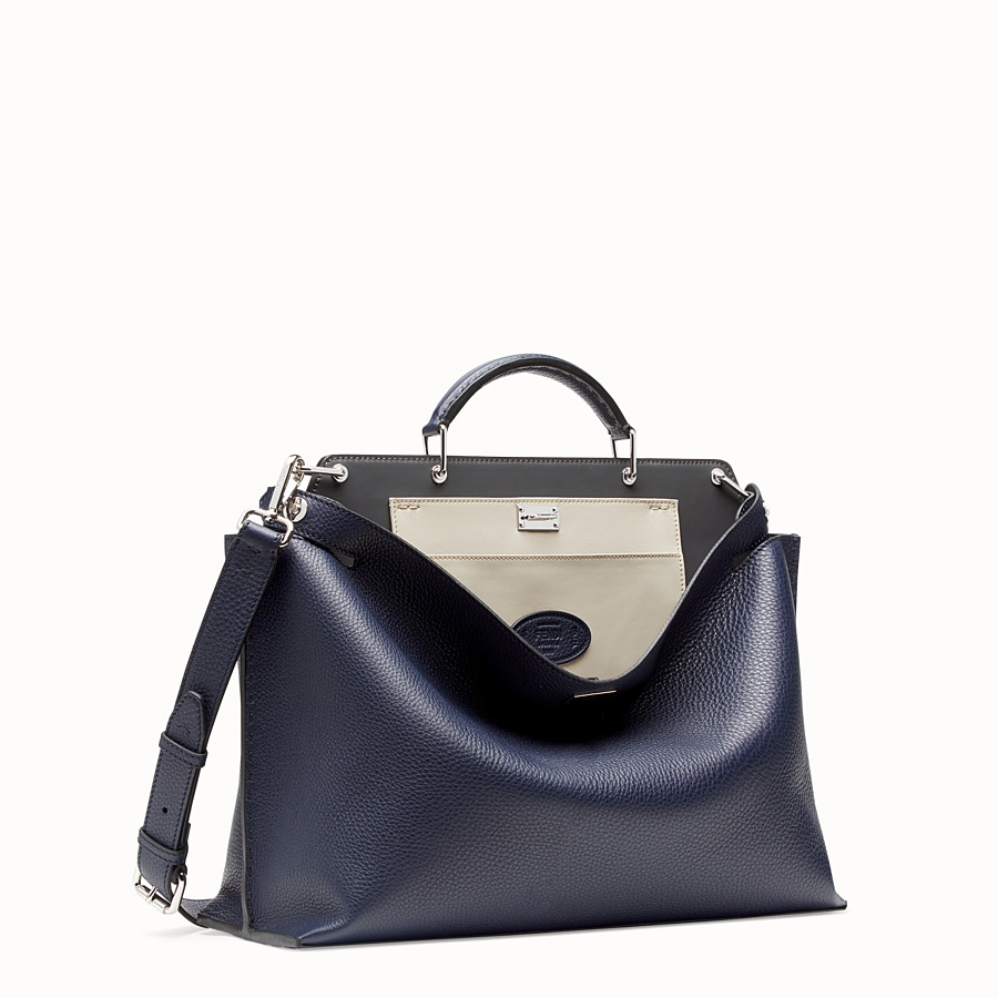 FENDI PEEKABOO ICONIC ESSENTIAL - Blue leather bag - view 2 detail