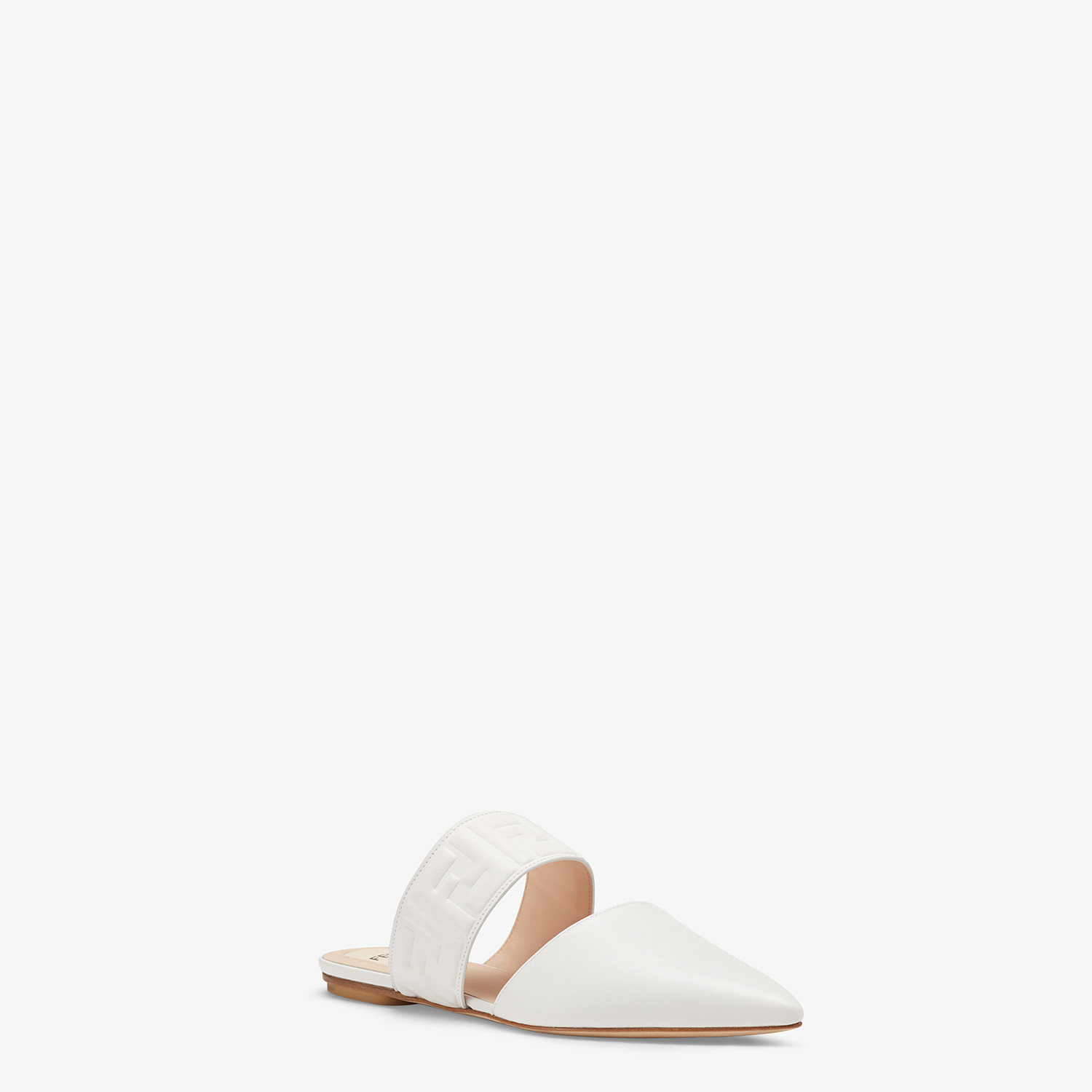 FENDI SABOTS - White leather mules - view 2 detail