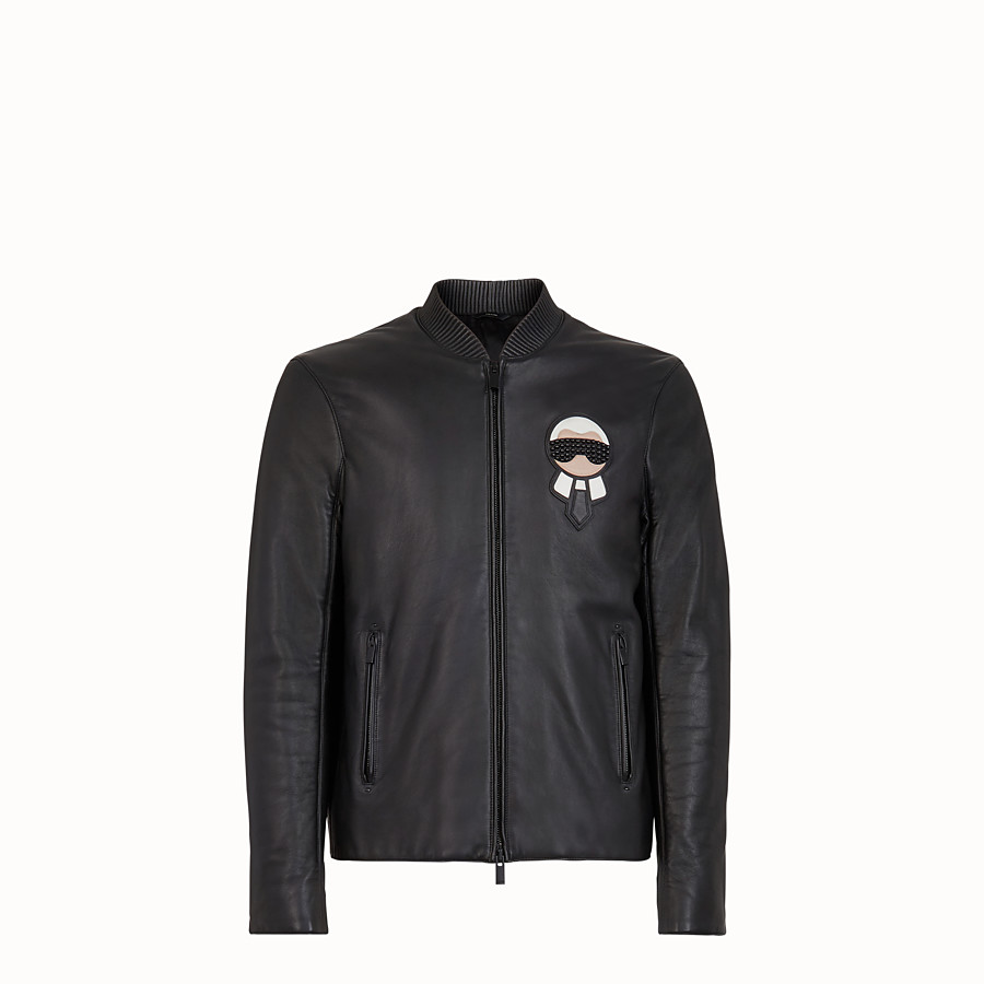 FENDI BIKER JACKET - Black leather jacket - view 1 detail