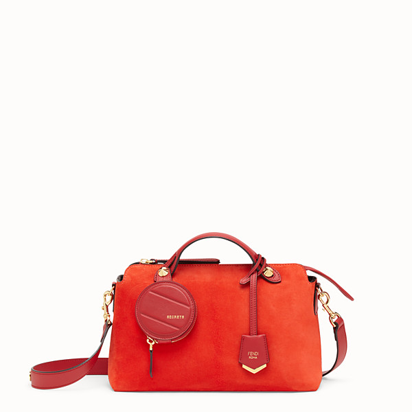 FENDI BY THE WAY MEDIUM - Red suede Boston bag - view 1 small thumbnail