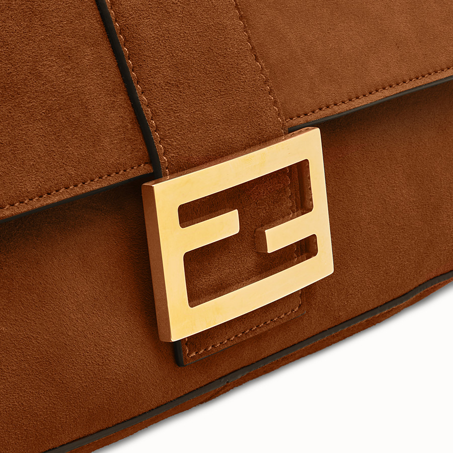 FENDI BAGUETTE LARGE - Brown suede bag - view 6 detail