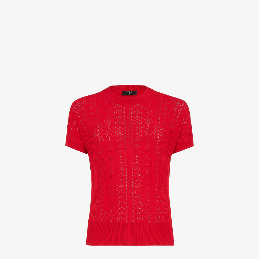 FENDI T-SHIRT - Red viscose T-shirt - view 1 detail