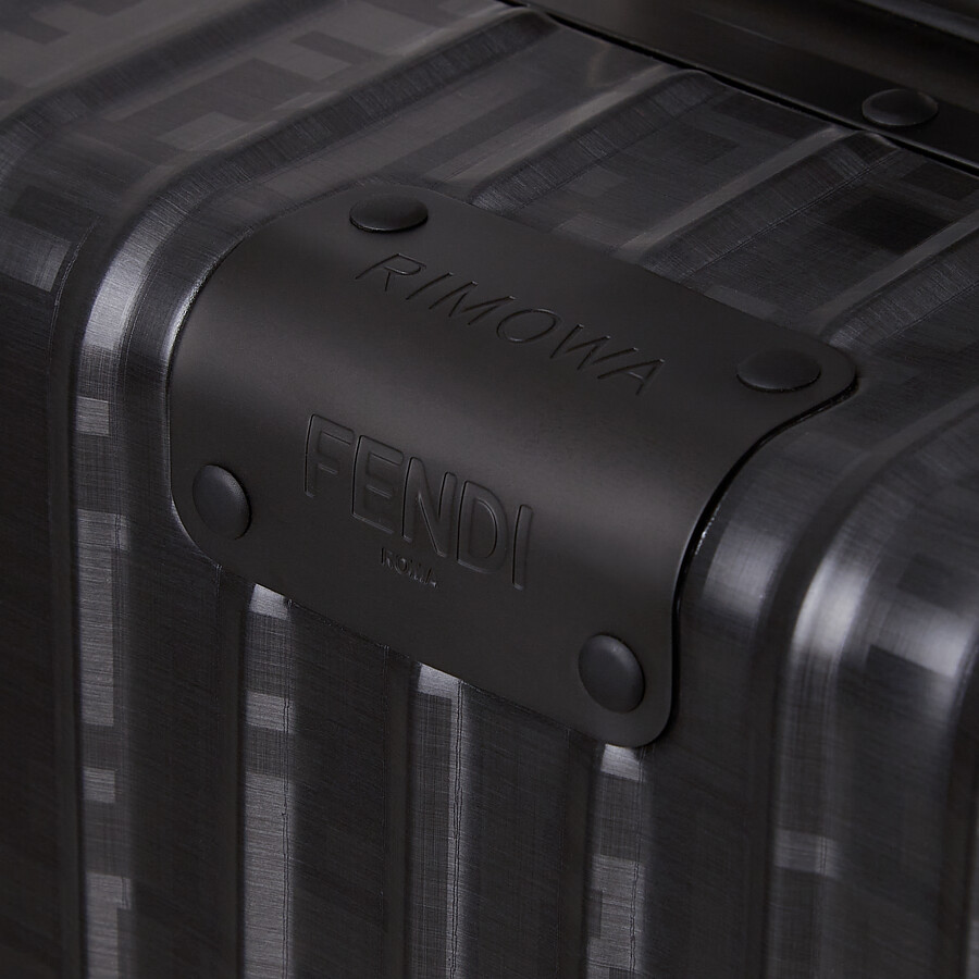 FENDI CABIN SIZE TROLLEY - Black aluminum trolley case with leather details - view 4 detail