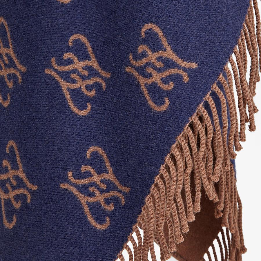 FENDI KARLIGRAPHY PONCHO - Blue wool poncho - view 3 detail