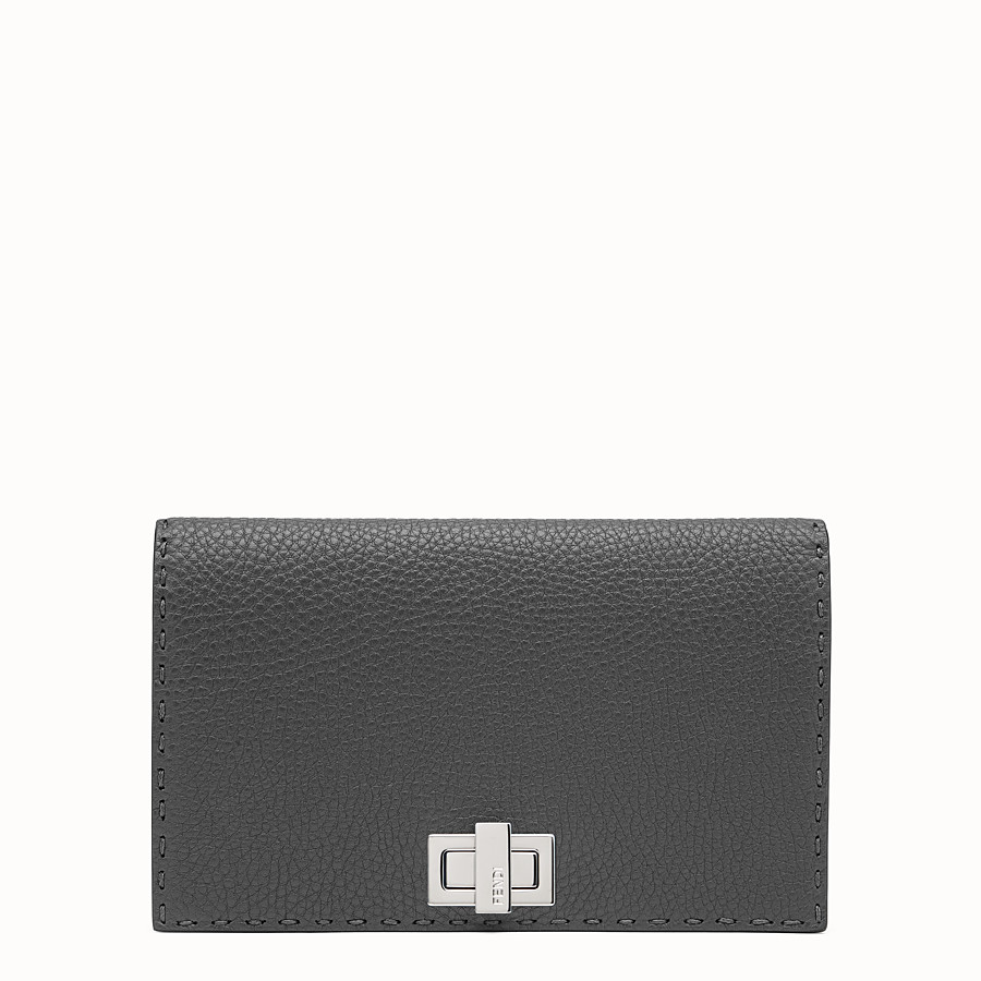 FENDI PEEKABOO MINI CLUTCH - Selleria in grey Roman leather - view 1 detail