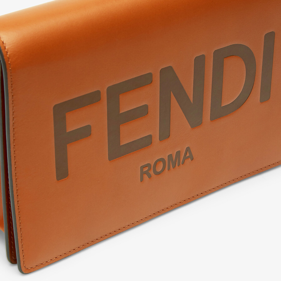 FENDI WALLET ON CHAIN - Brown leather mini-bag - view 5 detail
