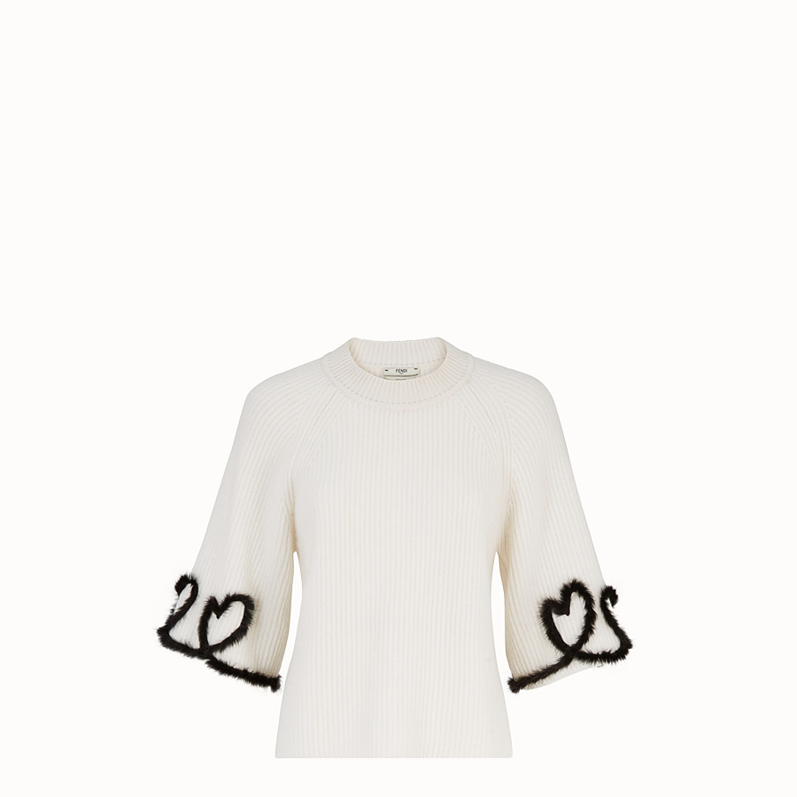 FENDI PULLOVER - White wool and cashmere jumper - view 1 detail