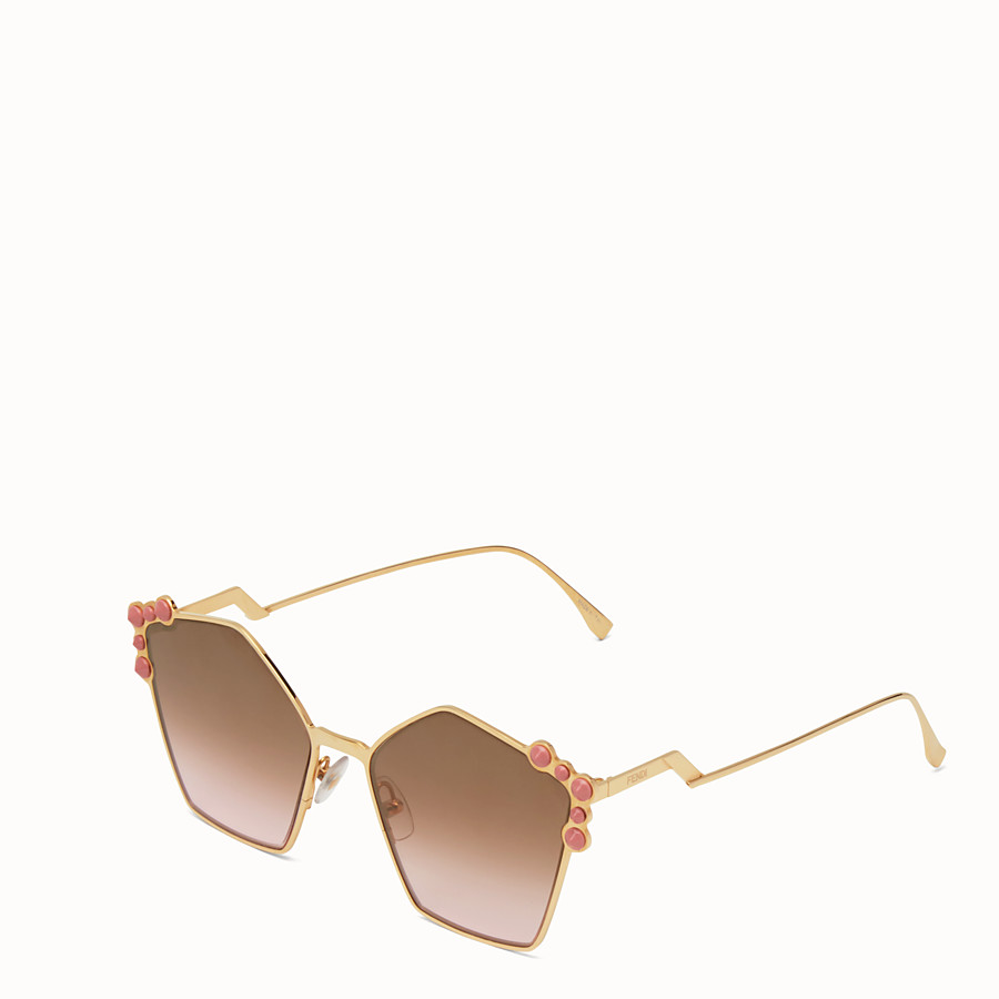 FENDI キャナイ - Rose gold sunglasses - view 2 detail